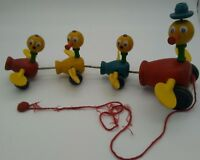 """Wood Pull Toy Fisher Price Gabby Goofies Mama Duck & Babies 14"""" Vintage 1950s"""