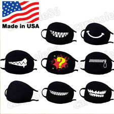 Cartoon Face Mask Cover Funny Unisex Teeth Mouth Black Cotton Printed Reusuable