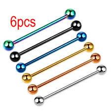 6PCS 14G Stainless Steel Industrial Barbell Piercing Jewelry Piercing Earrings