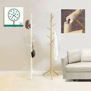 8 Hooks Coat Stand Rack Hat Jacket Bag Clothes Hanger Living Room Bedroom UK