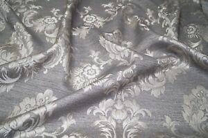 Steel Grey Luxury Jacquard Floral Damask Curtain Fabric Roman Blind Material