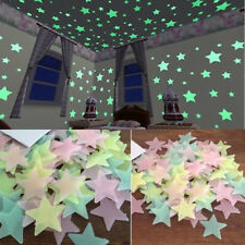 3D Star Glow In The Dark Luminous Ceiling Wall Stickers Kids Baby Bedroom 100pcs