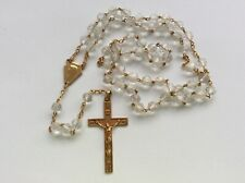 Chapelet Perles Cristal Métal Doré Religieux Catholique