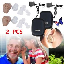 1 Pair Rechargeable Digital Mini In Ear Hearing Aid Adjustable Tone Amplifier BU