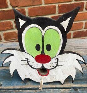 "Fun Vintage ""Sylvester The Cat"" Folk Art Birdhouse"