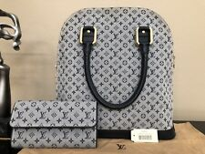 f841dd3f8eb1 Authentic Louis Vuitton Blue Mini Lin Canvas Leather Alma Satchel Bag Used  Once
