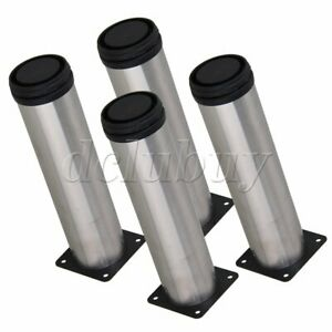 4x Stainless Steel Adjustable Furniture Cabinet Shelf Legs Feets Silver 178mm