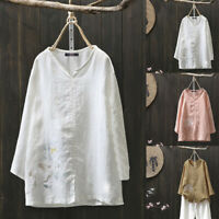 ZANZEA Women's Casual Ethnic Shirt Tops Loose Cotton Blouse Floral Print Jumper