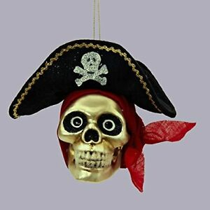 PIRATE SKULL Head Glass Ornament with Glitter & Fabric Accents Halloween NEW