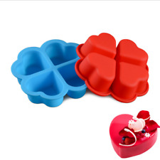 4-Cavity Heart Shape Silicone Muffin Pan Cake Chocolate Soap Pudding Tray Mould