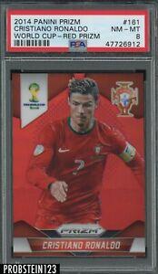 2014 Panini Red Prizm World Cup Soccer #161 Cristiano Ronaldo 68/149 PSA 8 NM-MT