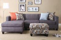 Charcoal Smooth Microfiber 3Pc Sectional Set Sofa Reversible Chaise w Ottoman
