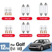 For VW Golf MK6 MK7 White LED Upgrade Lighting Interior Map Dome Light Kit 12V