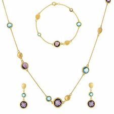 Silverly Gold Plated .925 Sterling Silver Gemstone Necklace Bracelet Earrings