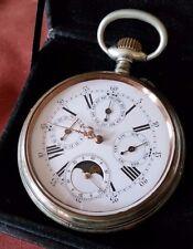 Big! Triple Calendar Moonphase Pocket watch, OF, 65mm 10J Ca. 1905. Vtg.Holder!