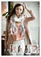 Womens Girls Long Cotton Ladies Shawl Large Silk Scarf Wrap Scarves