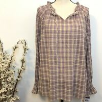 CHAPS Ralph Lauren Womens Plaid Crinkle Peasant Top Size Large NWT