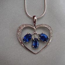 Certified Heart Shaped Natural Kyanite 10k White Gold Pendant