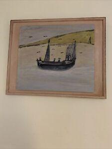 Alfred Wallis Oil On Wood  Signed Naive Art Cornish Art 1855/1942