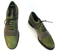 PERTINI - Chaussures derbies cuir velours gris et python vert anis 37 - NEUF