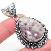 "Fascinating Cinnabar Jasper Handmade Ethnic Style Jewelry Pendant 1.97"""