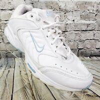 VTG Nike Women's View SIZE 9.5 Athletic Leather Walking Shoe Sneaker White Blue