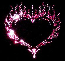 Pink Flaming Heart Crystal & Rhnestud Transfer Iron on Diamante Motif Design