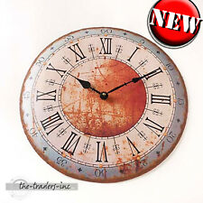 Vintage Shabby Chic Distressed Metal Blue Cream Red Wall Clock - NEW