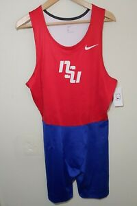 NEW Nike Men's Weightlifting Singlet Track & Field Body Suit NSU Red/Blue Size L