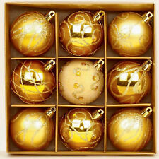 9pc Shine King Gold Unique Glitter Christmas Tree Balls Glass Effect Decor Set