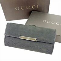 Gucci Wallet Purse Long Wallet GG Black Silver Woman unisex Authentic Used T5746