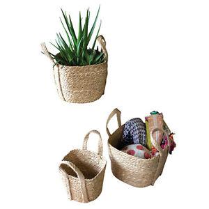 Woven Square Seagrass Storage Basket Set 3 Double Handle Planter Large