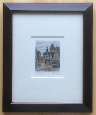 "Vintage Markus Tower Rothenburg Signed Aquatint Etching - Frame 10""x12"""