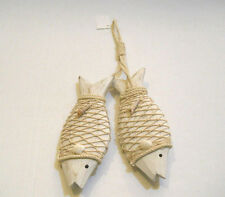 Set Of 2 White Wood Fish W/ Rope Netting & Seashells Nautical Beach Home Decor