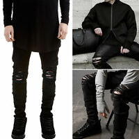 US SALE Men's Distressed Ripped Jeans Moto Denim Pants Slim Fit Skinny Trousers