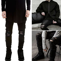 SALE Men's Distressed Ripped Jeans Moto Frayed Pants Slim Fit Skinny Trousers