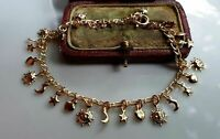 GENUINE 9ct Gold gf Charm Bracelet, PACKED FULL OF CHARMS { 0006CH }