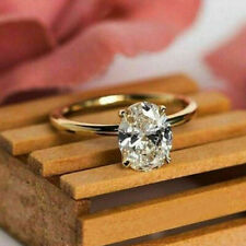 2.00Ct Oval Cut Diamond Solitaire Engagement Wedding Ring 14K Yellow Gold Finish