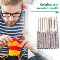 9pcs Aluminum Crochet Hooks Set Ceramic Handle Knitting Needles DIY Sewing Craft