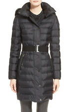 new BURBERRY Abbeydale Fox Fur Trim Hooded Belted Quilted Down Coat in Black US2