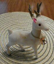 Vintage 50's White Flocked Christmas Prancing Reindeer with Bell Japan