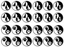 "Black Yin Yang Dog Cat Paw Print 5""X7"" Card Fused Glass Decals 18CC960"