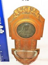 HOLY WATER FONT Vintage copper colored Metal Jesus Religious Christianity Stoup