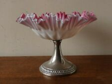 More details for pretty antique cased pink satin glass ruffled edge comport