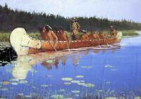 Radisson and Groseilliers Remington Fine Art Print on Canvas Repro Giclee Small