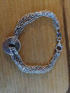 Chain Hammered disk Bracelet 925
