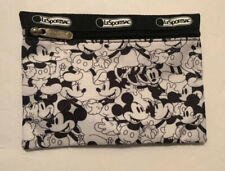 Brand New Lesportsac Black and White Mickey Mouse Flat Cosmetic Pouch Ship in Us