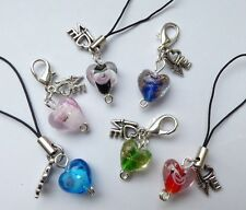 Lampwork Heart, Love Charm - Clip on or Cord for Mobile / Bag - Gift