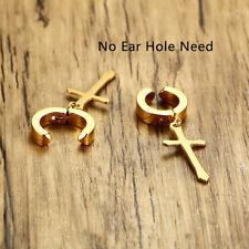 On Clamp Earring Ear Studs Xmas Gift Street Men Christ Cross Huggie Dangle Clip