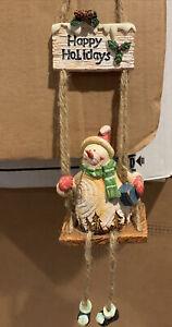Brand New! Snowman on a Swing Hanging Decoration. Looks Like Wood Grain